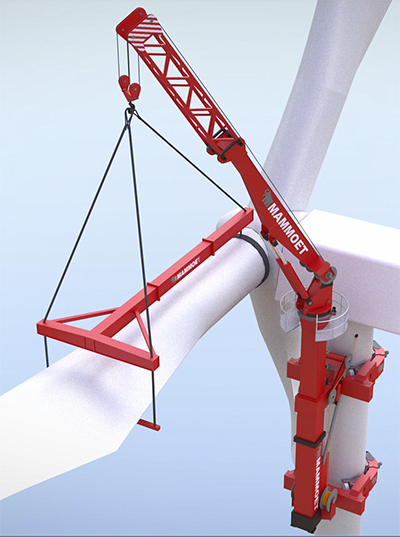 Heavy-lift engineering company Mammoet, in partnership with Hydrautrans, has developed a self-mounting crane system which can lift a load of 250 tons. It permits mounting of the 12 MW HDT without the need for a large and extremely expensive jack-up installation vessel.